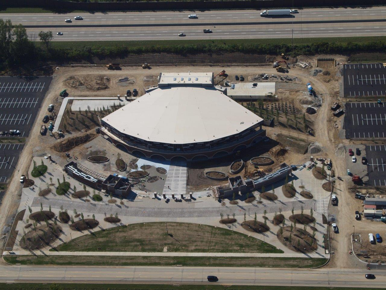 Aerial View of Rose Music Center and Parking Area in September 2014