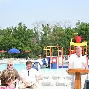 Aquatic Center Equipment and Ribbon Cutting Group
